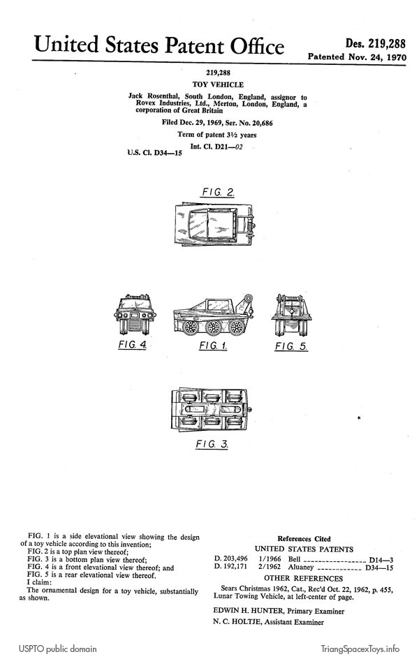 Tractor T-5 - Terrain Tiger design patent | Triang Spacex